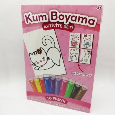 Çiçekli Kedi Kum Boyama Seti